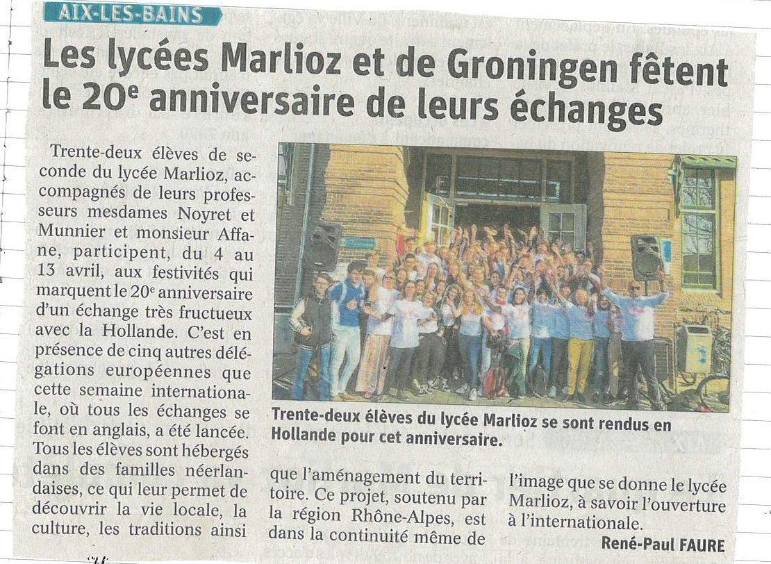 20ème échange entre les lycées Marlioz et de Groningen, en Hollande.