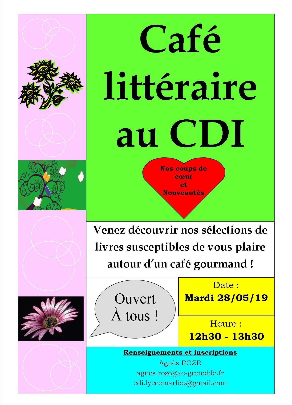"""Café littéraire au CDI spécial """"coups de coeur et nouveautés""""."""